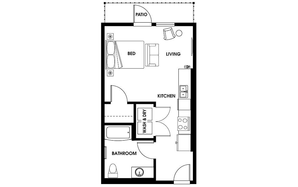S6 - Studio Flats floorplan layout with 1 bath and 505 square feet.
