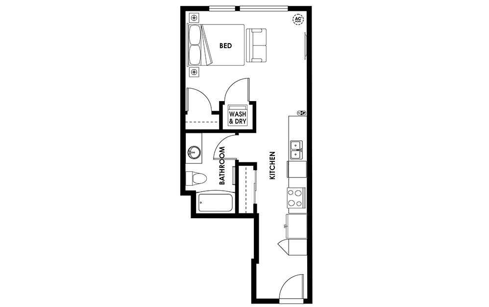 S7 - Studio Flats floorplan layout with 1 bath and 512 square feet.