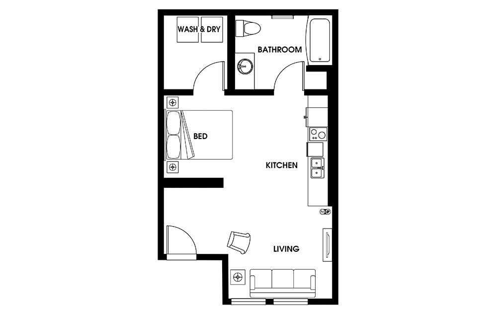 S8 - Petite Suites floorplan layout with 1 bath and 549 square feet.