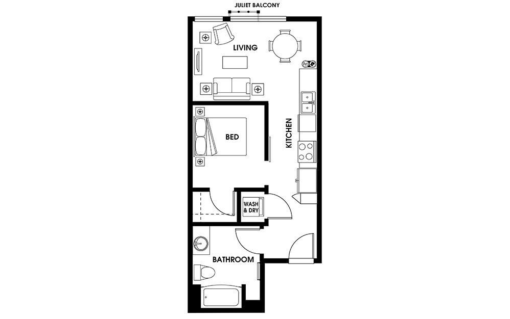 U2 - 1 bedroom floorplan layout with 1 bath and 553 square feet.