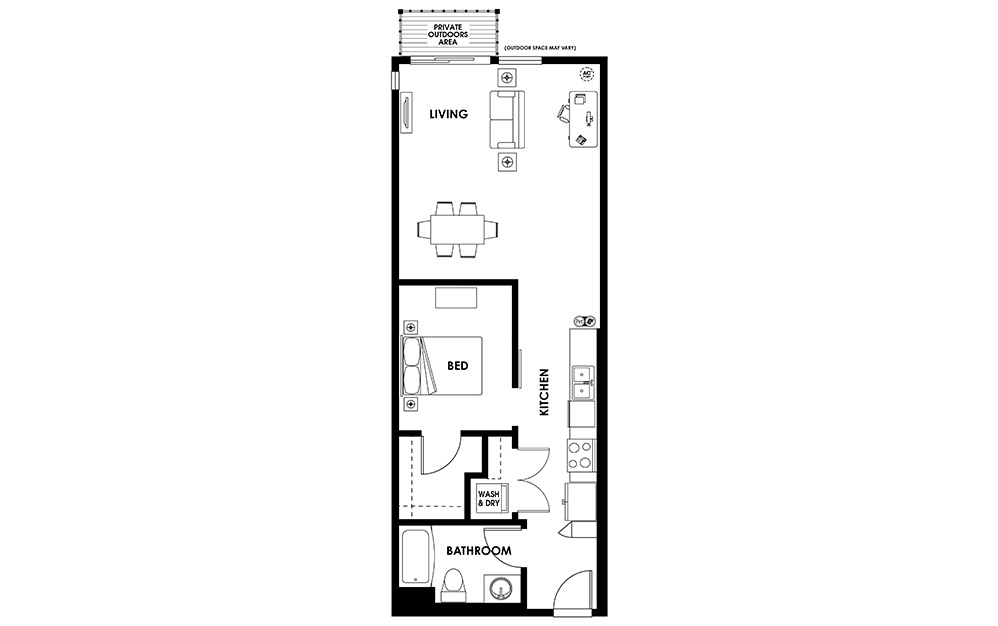 U3 - 1 bedroom floorplan layout with 1 bath and 735 square feet.