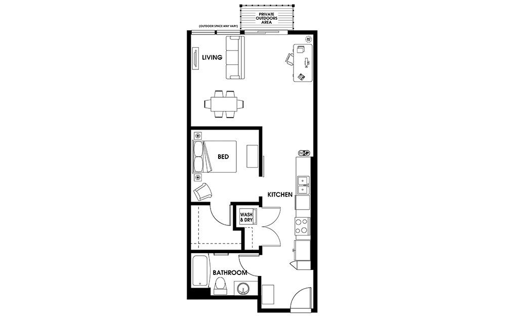 U4 - 1 bedroom floorplan layout with 1 bath and 768 square feet.