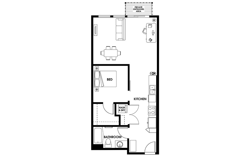 U5 - 1 bedroom floorplan layout with 1 bath and 769 square feet.