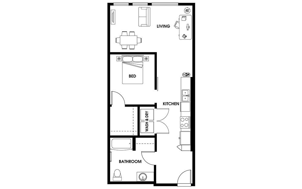 U6 - 1 bedroom floorplan layout with 1 bath and 780 square feet.