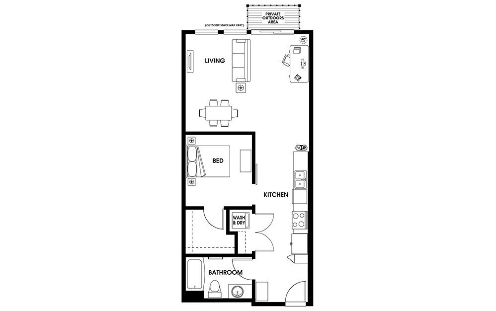 U7 - 1 bedroom floorplan layout with 1 bath and 784 square feet.